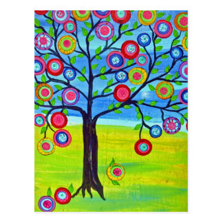 Mexican folk art style Tree of Life Postcard