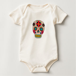 Mexican Folk Art Sugar Skull Baby Bodysuit