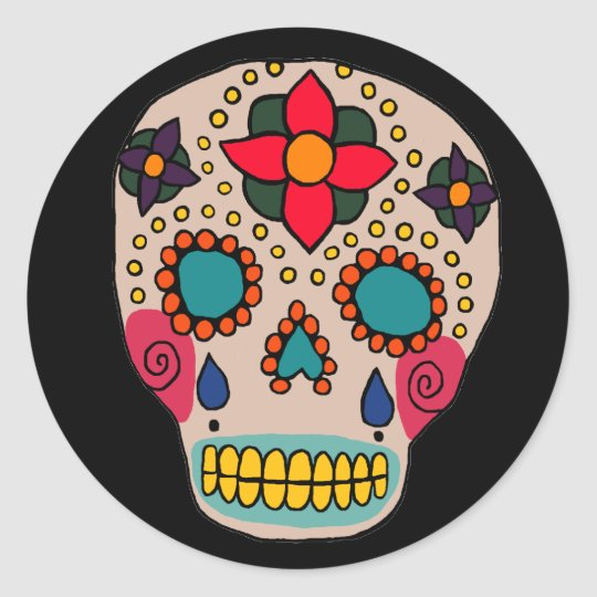 Mexican Folk Art Sugar Skull Classic Round Sticker