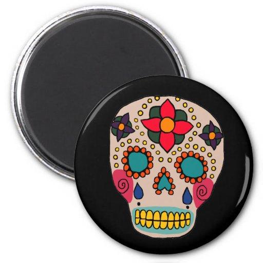 Mexican Folk Art Sugar Skull Fridge Magnets