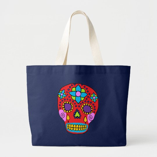 Mexican Folk Art Sugar Skull Large Tote Bag