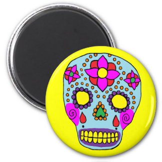 Mexican Folk Art Sugar Skull Refrigerator Magnet