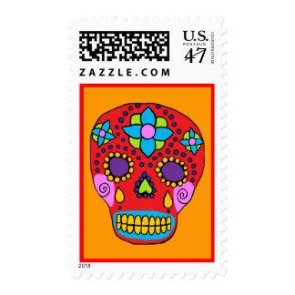Mexican Folk Art Sugar Skull Postage