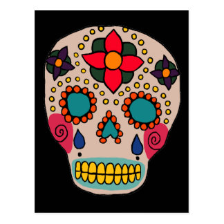 Mexican Folk Art Sugar Skull Postcard
