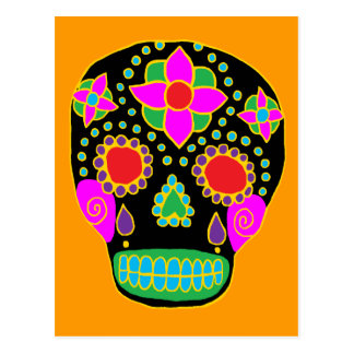 Mexican Folk Art Sugar Skull Postcard