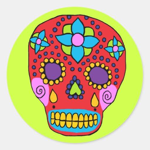 Mexican Folk Art Sugar Skull Round Sticker