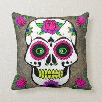 Mexican Folk Art Sugar Skull Throw Pillow