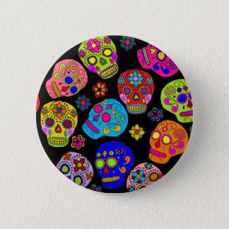 Mexican Folk Art Sugar Skulls Button
