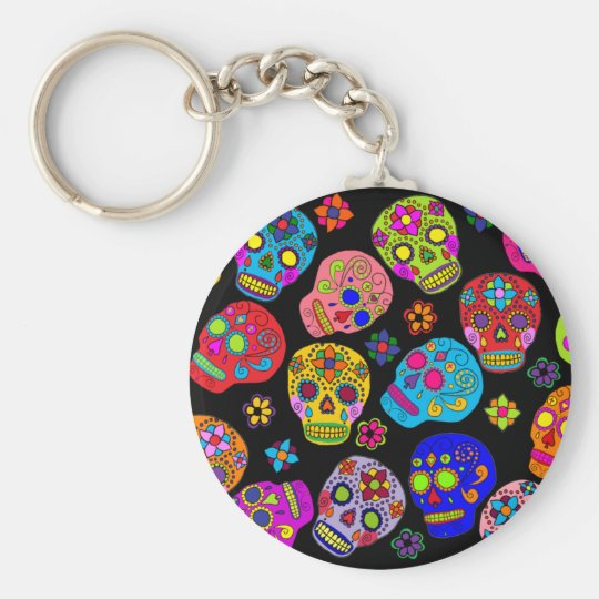 Mexican Folk Art Sugar Skulls Keychain