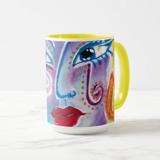 Mexican Folk Art Woman Red Roses Yellow Blue Lilac Mug