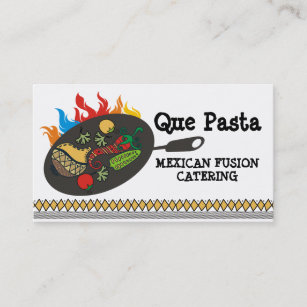 Mexican catering business cards templates zazzle mexican food cuisine flaming skillet catering business card reheart Gallery