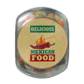 Mexican Food Glass Candy Jar