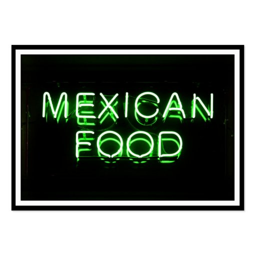 MEXICAN FOOD - Green Neon Sign Business Cards