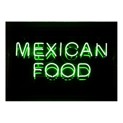 MEXICAN FOOD - Green Neon Sign Business Card Template