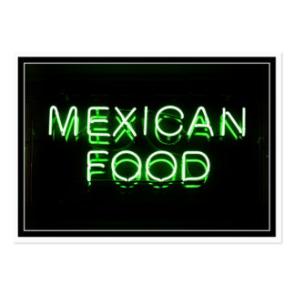 MEXICAN FOOD - Green Neon Sign Large Business Cards (Pack Of 100)