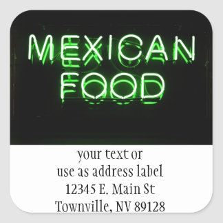 MEXICAN FOOD - Green Neon Sign Square Sticker
