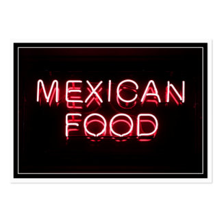 MEXICAN FOOD - Red Neon Sign Large Business Cards (Pack Of 100)