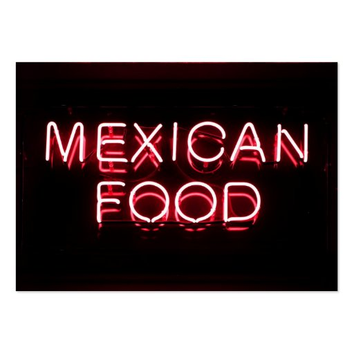 MEXICAN FOOD - Red Neon Sign Business Card