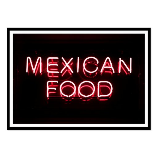 MEXICAN FOOD - Red Neon Sign Business Cards