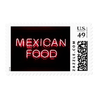 MEXICAN FOOD - Red Neon Sign Stamps