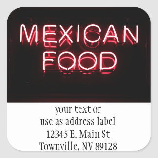 MEXICAN FOOD - Red Neon Sign Stickers