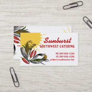 Mexican catering business cards templates zazzle mexican food southwest corn pepper chef catering business card reheart Gallery