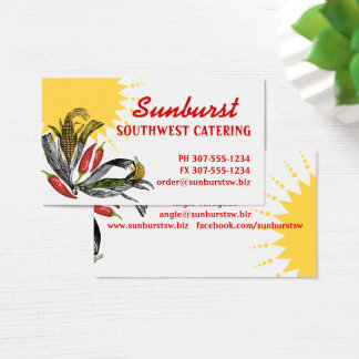 Mexican food Southwest corn pepper chef catering Business Card