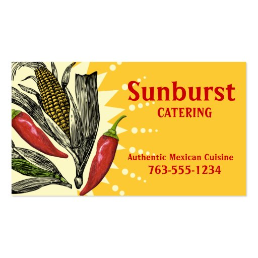 Mexican food Southwestern cuisine chef catering Business Card Templates