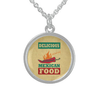 Mexican Food Sterling Silver Necklace