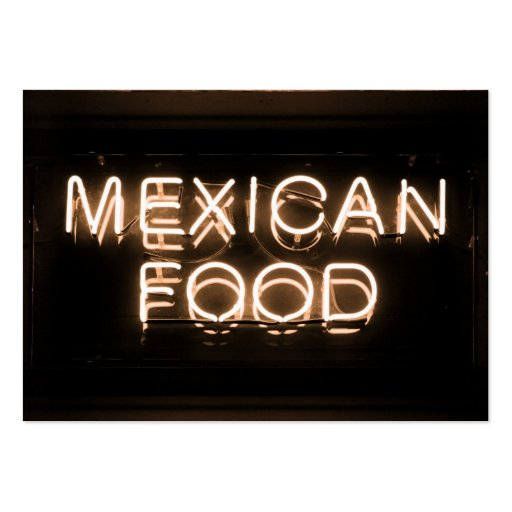 MEXICAN FOOD -Yellow Neon Sign Business Card Templates