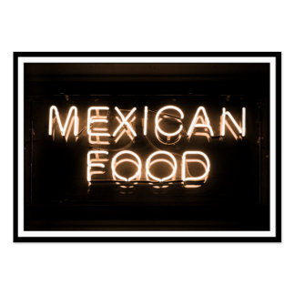 MEXICAN FOOD -Yellow Neon Sign Large Business Cards (Pack Of 100)