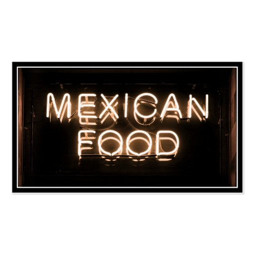 MEXICAN FOOD -Yellow Neon Sign Business Cards