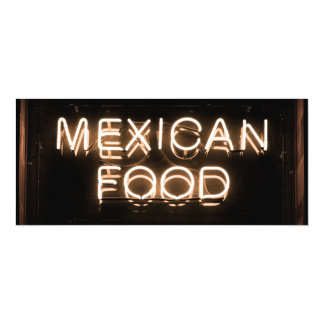 MEXICAN FOOD -Yellow Neon Sign Announcement