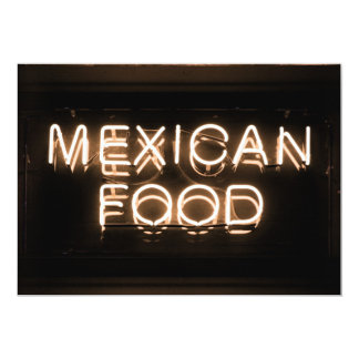 MEXICAN FOOD -Yellow Neon Sign Personalized Invitation