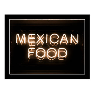 MEXICAN FOOD -Yellow Neon Sign Post Card
