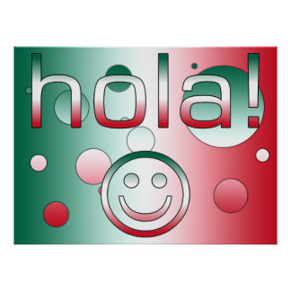 Mexican Gifts : Hello / Hola + Smiley Face Poster