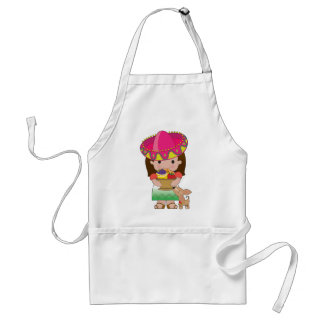 Mexican Girl and Dog Adult Apron