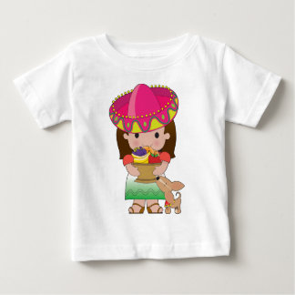 Mexican Girl and Dog Baby T-Shirt
