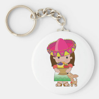 Mexican Girl and Dog Basic Round Button Keychain