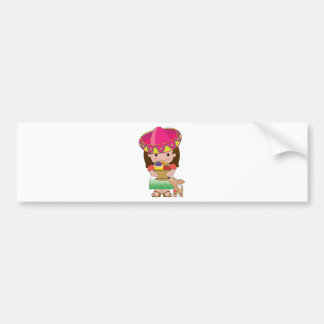 Mexican Girl and Dog Bumper Sticker