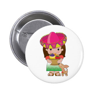 Mexican Girl and Dog Pin