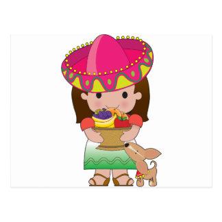 Mexican Girl and Dog Postcard