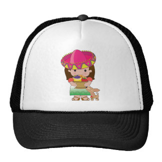 Mexican Girl and Dog Trucker Hat