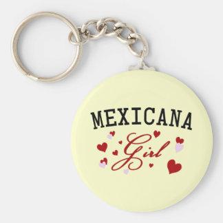 Mexican Girl Basic Round Button Keychain