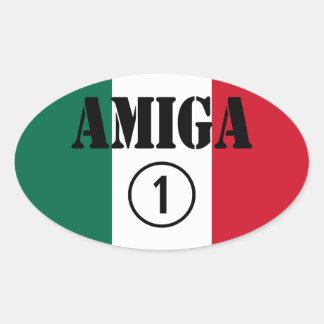 Mexican Girl Friends : Amiga Numero Uno Oval Sticker
