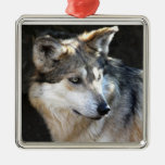 Mexican Gray Wolf Square Metal Christmas Ornament