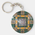 Mexican Green Talavera Style Tile work Key Chains