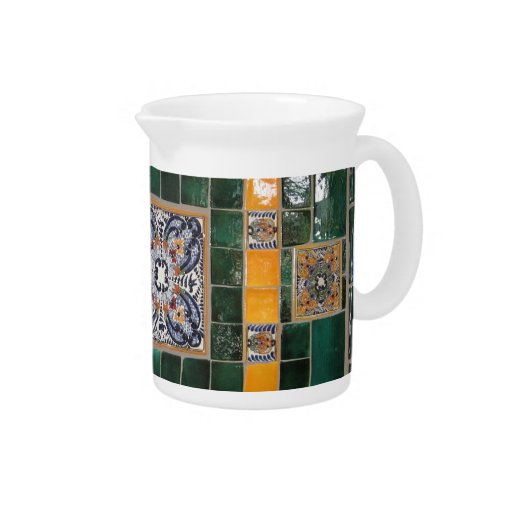 Mexican Green Talavera Style Tile work Pitcher