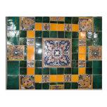 Mexican Green Talavera Style Tile work Postcard