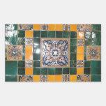 Mexican Green Talavera Style Tile work Rectangular Sticker